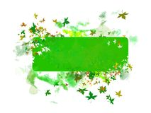 Leaf banner. Green banner with color leafs Stock Illustration
