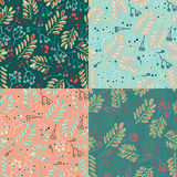 Leaf and berries seamless pattern background. Set of colorful variations. Royalty Free Stock Photo