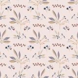Pink Natural Leaf Berry Branch Vector Pattern,. Leaf Berry Branch Vector Pattern, Seamless Silhouette Background for Spring Fashion Prints, Journaling, Wallpaper stock illustration