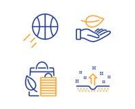 Leaf, Bio shopping and Basketball icons set. Clean skin sign. Plant care, Leaf, Sport ball. Cosmetics. Vector. Leaf, Bio shopping and Basketball icons simple set vector illustration