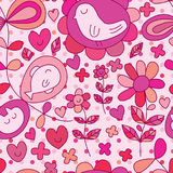 Leaf bird cat fish cute pink seamless pattern. This illustration is abstract flower and leaf decoration with bird, fish, cat in pink theme and seamless pattern stock illustration