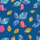 Leaf bird top style seamless pattern. This illustration is design leaf bird top leaves in seamless pattern blue colors drop background Royalty Free Stock Image