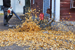 Leaf blower in autumn Stock Photo