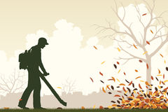 Leaf blower. Editable vector illustration of a man using a leaf-blower to clear leaves vector illustration