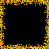 Leaf Border 01. Autumn leaf border on a black background vector illustration