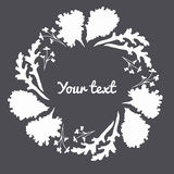 Leaf border and circle frame. Layout template design with the round decorative frame can be use for greeting and invitation card, background, backdrop , vector Royalty Free Stock Photo