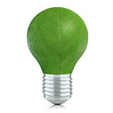 Leaf Bulb. Light bulb with leaf instead of glass on white background. Extremely high resolution and detailed Royalty Free Stock Image