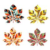 Leaf chestnut collection set - vector silhouette Royalty Free Stock Photography
