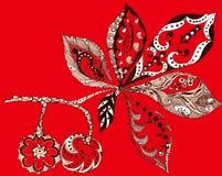 Leaf chestnut, silhouette, ink, pen, monochrome, pattern. Leaf chestnut silhouette  ink pen pattern handmade  red background monochrome Stock Photo