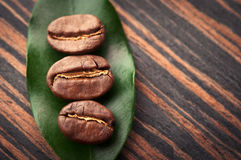 Leaf and coffee beans Royalty Free Stock Photos