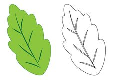 Leaf. Coloring page, game for kids. Vector illustration. Stock Photography