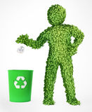 Leaf covered eco character Royalty Free Stock Images