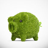 Leaf covered piggy bank Stock Photos