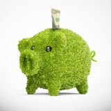 Leaf covered piggy bank Royalty Free Stock Images