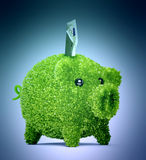 Leaf covered piggy bank Royalty Free Stock Photos