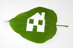 Leaf cutted house. Real estate Royalty Free Stock Photos