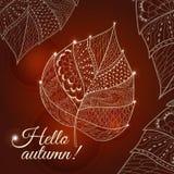 Leaf doodle. Vector autumn doodles card. Hand drawn artwork stock illustration