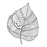 Leaf doodle. Vector illustration. Hand drawn artwork. Black, white. Coloring book page for adults vector illustration