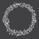 Leaf doodle wreath. Chalkboard imitation. Vintage round frame. Leaf doodle wreath. Chalkboard imitation. Vintage round frame on blackboard. Space for text Stock Photos