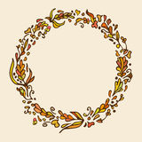 Leaf doodle wreath. Vintage round frame. Warm colors. Royalty Free Stock Photos