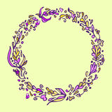 Leaf doodle wreath. Vintage round frame on yellow background. Stock Images