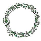 Leaf doodle wreath. Vintage round green frame  on white. Royalty Free Stock Photo