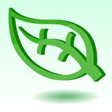 Leaf element symbol 3D style royalty free illustration