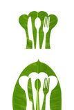 Leaf emboss kitchen logo. With isolated background Royalty Free Stock Photo