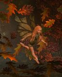 Leaf Fairy Child with Autumn (fall) background Royalty Free Stock Image