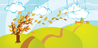 Leaf fall. Autumn Illustration of leaf fall in the country Stock Images