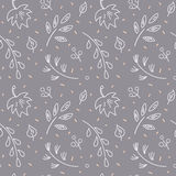 Leaf fall pattern. Autumn leaf fall amid first snow. Seamless hand drawn pattern Royalty Free Stock Photos