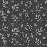 Leaf fall pattern. Autumn leaf fall amid first snow. Seamless hand drawn pattern Stock Image