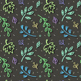 Leaf fall pattern. Autumn leaf fall amid first snow. Seamless hand drawn pattern Stock Photo