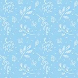 Leaf fall pattern. Autumn leaf fall amid first snow. Seamless hand drawn pattern Royalty Free Stock Images