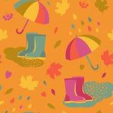 Leaf fall and rainy weather seamless pattern Stock Photo