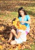 Leaf fashion girls Royalty Free Stock Images
