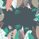 Leaf and flower frame. Vector illustration. Leaf and flower frame. Hand drawn tropical pattern background. Vector illustration stock illustration
