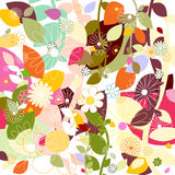 Leaf and flowers pattern Stock Image