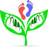 Leaf foot print stock illustration