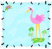 Leaf Frame with Flamingo on an Island Stock Photography
