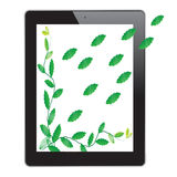 Leaf of frame on tablet. On white background Stock Photos