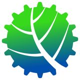 Leaf in gear shape. Isolated logo drawing Royalty Free Stock Images