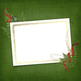 Leaf with gold frame for invitation Royalty Free Stock Image