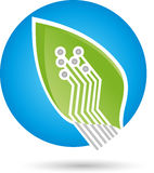 Leaf in green, chip, board, Green IT. Leaf in green, chip, board and Green IT Logo Stock Photography