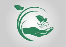 Leaf in hand icon. Ecological symbols and signs green nature concept, humans and plants logo, vector illustration Royalty Free Stock Photos