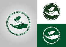 Leaf in hand icon. Ecological symbols and signs green nature concept, humans and plants logo, vector illustration Royalty Free Stock Images