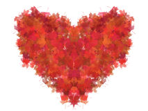 Leaf Heart. Isolated heart made from red foliage Royalty Free Stock Images