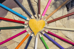 Leaf heart and Colored pencils Royalty Free Stock Image