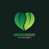 Leaf with Heart Shape Logo Design Template Royalty Free Stock Image
