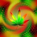 The leaf of hemp. On blur spiral background. May be used as seamless pattern vector illustration